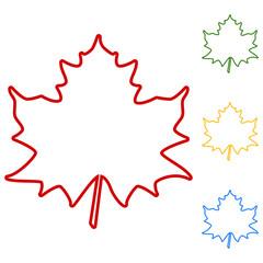 Maple leaf. Set of line icons