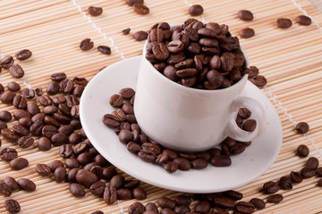 coffee beans in coffee cups.