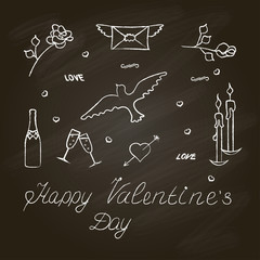 Symbol set for Valentine's Day with chalkboard effect. Vector illustration. eps10