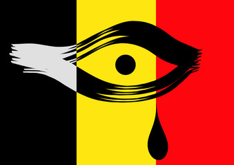 Eye crying a tear in front of the flag of Belgium
