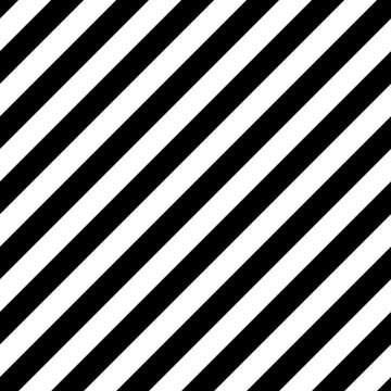 Vector Diagonal Striped Seamless Pattern. Black and white background