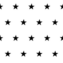 Seamless pattern with stars, vector black and white background