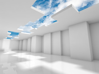 Abstract modern 3d interior design with sky