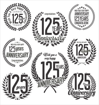 Laurel Wreath anniversary vector collection 125 years