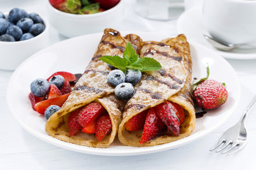 crepes with fresh berries and chocolate sauce for breakfast