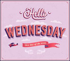 Hello Wednesday typographic design.