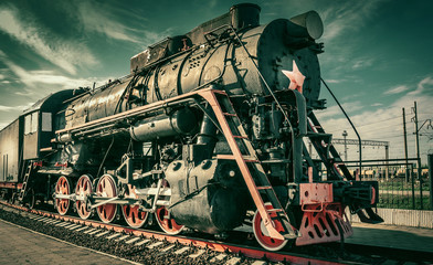 The old Old steam locomotive. Vintage style train