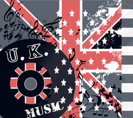 Fashion grunge music background with British flag