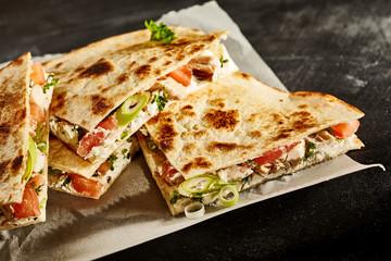 Delicious prepared quesadilla slices