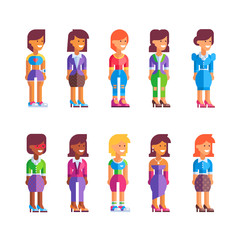 Set of different female characters in flat design. Stock vector illustration. See also male set.
