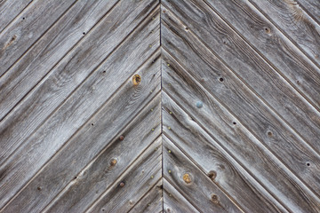faded wooden slatted door