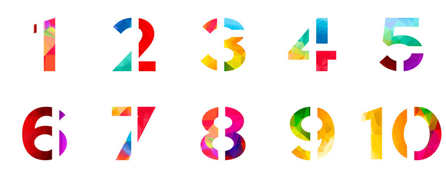 Abstract bright rainbow polygon number alphabet colorful font style. one two three four five six seven eight nine ten zero digits. vector illustration. 3d geometric numeral set design isolated