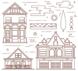 Flat illustration set. Urban and village elements.