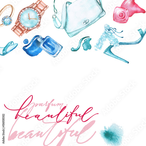 "Fashionable Clothes Shoes Jeans Lipsticks Nail Polish: ""Watercolor Fashion And Cosmetics Background With Make Up"