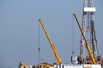 oil drilling rig and cranes