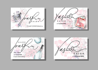 Makeup artist business card. Vector template with Beautiful perfume bottle . Fashion and beauty background. Template Vector.