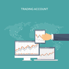 Vector illustration. Flat background. Market trade. Trading platform,account. Moneymaking,business. Analysis. Investing.
