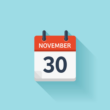November  30. Vector flat daily calendar icon. Date and time, day, month. Holiday.
