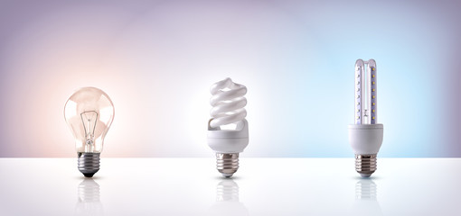 Comparison between various types of light bulb on white backgrou