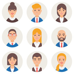 Set of avatars modern vector style. Business people