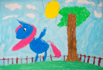 Child's painting - colorful horse