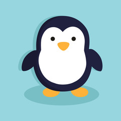 Cute Penguin Cartoon Character in Blue Background