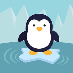 A little cute penguin standing on iceberg in winter background.