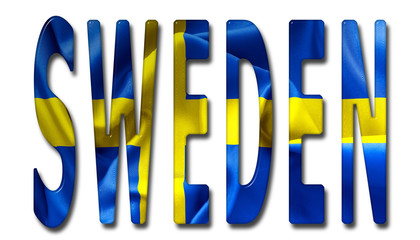 Sweden Word With Flag Texture