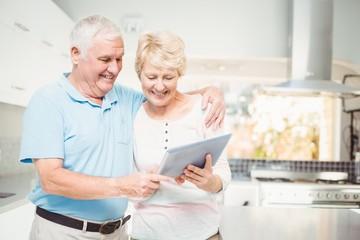 Happy senior couple holding digital tablet
