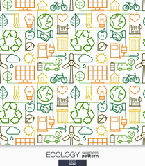Ecology wallpaper. Green energy connected seamless pattern. Tiling textures with thin line integrated web icons set. Vector illustration. Abstract background for mobile app, website, presentation.