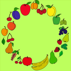 painted  of fruits  in a circle