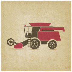 combine harvester farm machinery old background