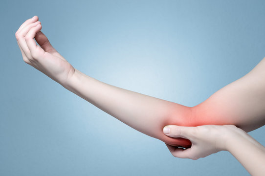 Hand with elbow pain