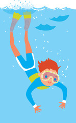 A boy diving in the sea. Vector