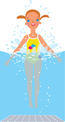 A girl bobbing in the swimming pool. Vector