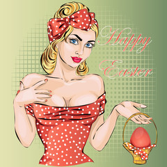 Happy Easter pin-up woman with egg. Sexy wife vector