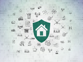 Finance concept: Shield on Digital Paper background