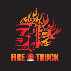 Fire truck and fire logo vector design