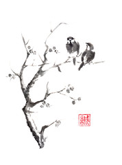 Tow birds on tree original sumi-e ink painting.