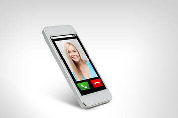 close up of smarthphone with incoming call