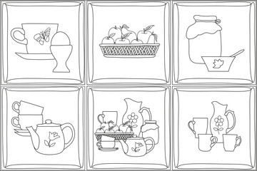 pencil drawing of kitchen items