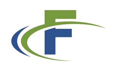 F swoosh blue green letter logo