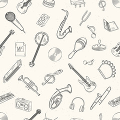 Seamless pattern of musical instruments.