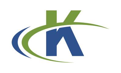 K swoosh blue green letter logo