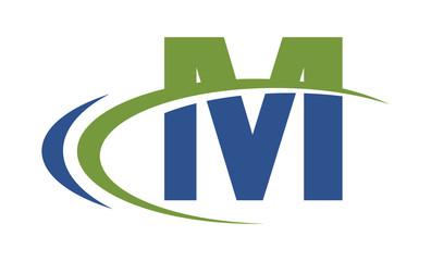 M swoosh blue green letter logo