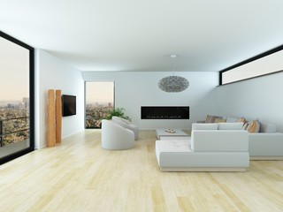 Modern living room with light parquet floor