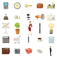 Office icons set, cartoon style