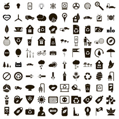 100 eco icons set, simple style