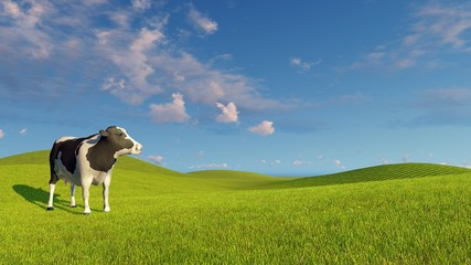 Wall Mural - Single mottled dairy cow on the open green meadows under blue cloudy sky at spring day. Realistic 3D illustration.