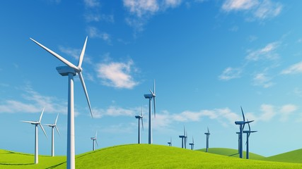 Close up of wind turbines on a green hills against blue cloudy sky background. Realistic 3D illustration.